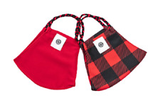 Poms 2 Pack Red Buffalo Check Face Masks