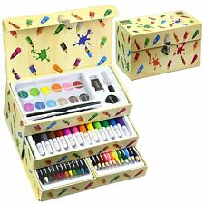 54 Pieces Kids Art Artist Set in a Box with Drawers Pens Pencils Crayons Paints
