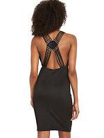 BNWT Black Macrame Back Bodycon Wiggle Dress Size 8 Stretch RRP £49
