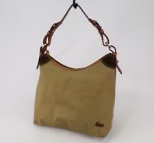 Dooney & Bourke Handbag Bag Purse Nylon Leather Trim Khaki Green Pink Interior