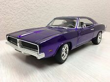 Hot Wheels 1:18 Scale '69 Dodge Charger R/T Purple Diecast Mattel MOPAR