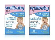 2 x Vitabiotics Wellbaby Multi-vitamin Drops 30ml exp 31/06/2020