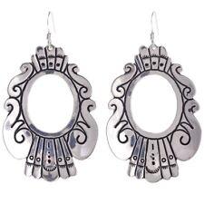 Navajo Rosita, Tommy Singer Classic Stamped Sterling Silver Hoop Dangle Earrings