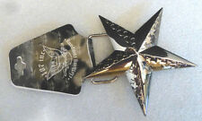 187 inc. Chrome Plated Silver Star Symbol Embossed with Stars Belt Buckle Biker