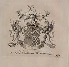 1779 ANTIQUE PRINT ~ NOEL ~ Family Crest Armoiries Viscount Wentworth