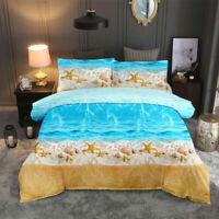 3D Blue Ocean Beach Starfish Duvet Cover Bedding Comforter Cover Pillow Case