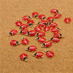 10PCS Red Ladybug Pendants Ladybird Charms Enamel Beads Bracelet Making