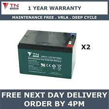 2x TN Power AGM 12V 15Ah Golf & Mobility Scooter Batteries, Replaces REC14-12