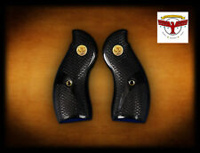 "Ruger Redhawk Round Butt Black Diamondâ""¢ Grips ~ Fishscale + Gold Liberty Med ^"