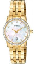 Citizen EU6032-51D Women's Gold Tone MOP Dial Swarovski Accented Dress Watch