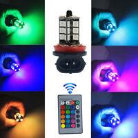 2x H11 H9 H8 5050 LED 27SMD RGB Car Fog Light Lamp Headlight Bulb Remote Control