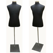 Male Dress Body Form With Metal Base - Black Jersey - Bfm/B-M