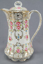 Nippon Dresden Style Hand Painted Pink Rose & Gilt Chocolate Pot C. 1891 - 1921