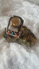 w/ turquoise and coral stones Navajo Indian vintage cuff watch