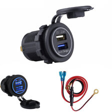 Car Marine Dual USB Power Outlet Quick Phone Charger 2.4A with Waterproof Cover