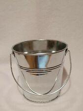 Shiny silver Metal Bucket Flower Plant Pot Planter Wedding Decor