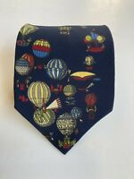 Fornasetti 100% silk tie Deep blue with multicolored hot air balloons