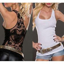 Sexy Mujer Top Encaje Chaleco Camisa sin Mangas Blusa Hueco Informal Verano