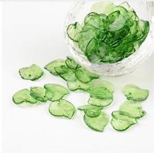 100pcs Green Transparent Clear Acrylic Leaf Pendants Beads Bracelet Necklace