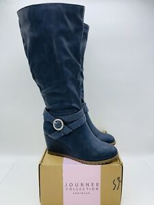 Journee Collection Women Garin Extra Wide Calf Wedge Knee High Boot Blue US 7.5