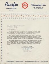 1959 Pacific Fireworks Co. Letter Tacoma, Wa