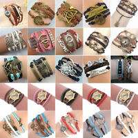 Women Braided Leather Infinity Charm Cuff Bracelet Wristband Accessories Jewelry