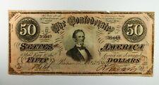 Civil War Era Confederate States of America $50 Note Feb 17 1861 T66