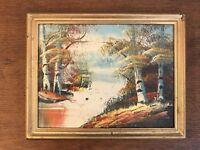 "Vtg. Oil On Board Original Framed Plein Air Landscape Painting 7"" X 9"""