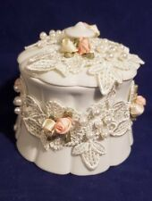 Limoges France Beautiful Pearl Flower Lacy Decorative Trinket Box