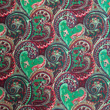 "Print Fabric Cotton Polyester Broadcloth By The Yard 60"" Paisley Green"