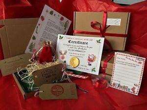 wood wool Christmas Eve Box Personalised A5 Letter coin Key & Reindeer Food NICE