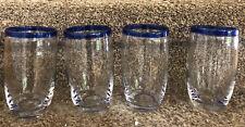 "Lot Of 4,  5 3/4"" Cobalt Blue Rim  Glass Drinking Glasses kitchen drinkware"
