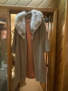 Lorendale Brown Suede Coat Real Fur Collar Made in USA