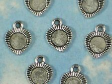 50 Scallop Heart Bezel Settings Charms Antiqued Silver Finish 6mm Tray #P1012