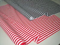 Stripe polycotton fabric Poplin per 1 Metre Red stripes Black stripes