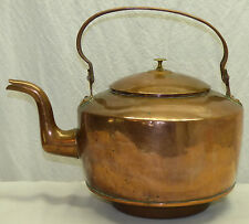 Large Antique Dovetail Copper Water Tea Kettle Gooseneck Wood Coal Stove Drop-in