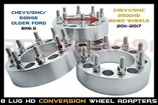 """8x6.5 to 8x180 Wheel Adapters Spacers 14x1.5 studs 8 lug Chevy GMC 1.5"""" thick"""