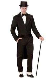 Black Tailcoat Men's  Edwardian Victorian Fancy Dress Costume S- XL
