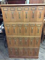 Oak Stacking File Cabinet, 24 Drawers