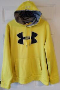 UNDER ARMOUR men's Large bright yellow hoodie with logo