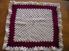 Hand CROCHETED Cream Maroon Lap Blanket Throw Afghan 23 x 23