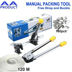 Manual Strapping Packing Tool Machine with Plastic Strap Tensioner Sealer Cutter
