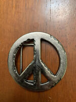Hippie Peace Sign Belt Buckle Silver Tone Excellent