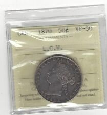**1870 LCW**, ICCS Graded Canadian Silver 50 Cent, **VF-30**
