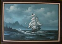 Large Original oil painting on canvas, seascape,Sailing ships on the Sea,Signed