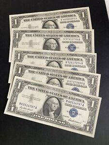1957 Silver Certificate notes Lot of 5