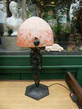 Lamp Made New Art Daum Shells Glass Marble Signed Lorrain Jugendstil