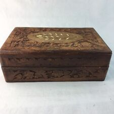 Wood Chest Jewelry Storage Box Inlay Carved Floral Pattern Solid Wood Vintage