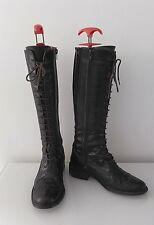 DUO BROWN LEATHER LACE UP & SIDE ZIP BOOTS SLIM FIT CALF SIZE UK 3