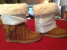 NEW MADDEN GIRL SLEET COGNAC FRINGE MID BOOTS BOOTIES WOMENS Size 8&9